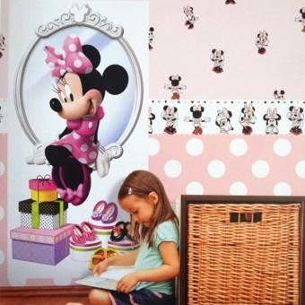 Ταπετσαρία τοίχου παιδική | Disney | Cenefa Minnie pink