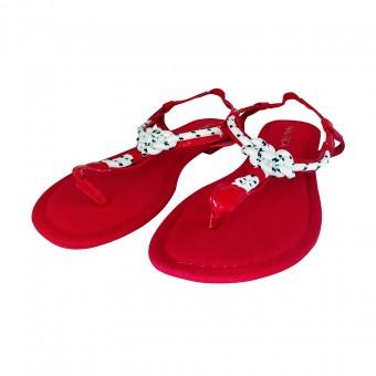Παπούτσι Γυναικείο | Πέδιλο | Ύφασμα | Κόκκινο | Ναυτικός Κόμπος