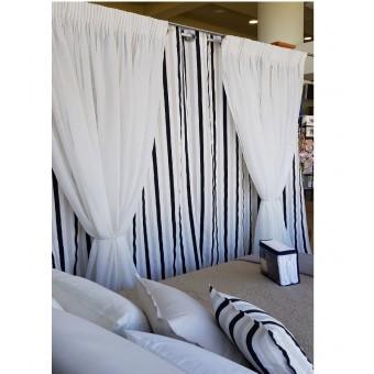 Κουρτίνα 135x250   Ριγέ μαύρο - άσπρο - μπέζ   Έτοιμη ραμμένη