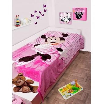 Κουβέρτα παιδική βελουτέ   Minnie Mouse 551   μονή 160x220