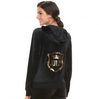 Ζακέτα Γυναικεία | Βελουτέ | Με Logo | Μαύρο χρώμα