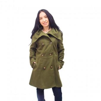 Παλτό Γυναικείο | Μακρύ | Χακί | Μάλλινο |