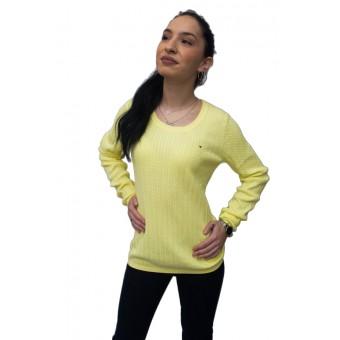 Πουλόβερ γυναικείο   Βαμβακερό   Πλεξίδες   Κίτρινο  RM37688003-770