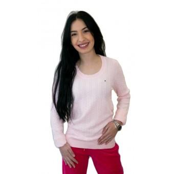 Πουλόβερ γυναικείο   Βαμβακερό   Πλεξίδες Ρόζ