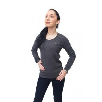 Πουλόβερ γυναικείο   Βαμβακερό   Γκρί   πλεξούδα   Λαιμόκοψη  RM37692055-523