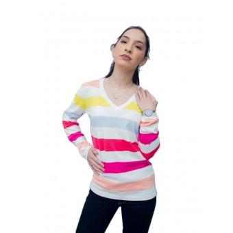 Πουλόβερ γυναικείο   Βαμβακερό    Λευκό    Ριγέ   RM37688129-901