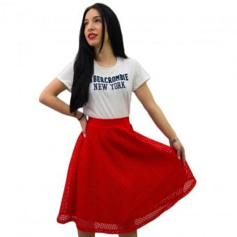 Φούστα κόκκινη με δίχτυ