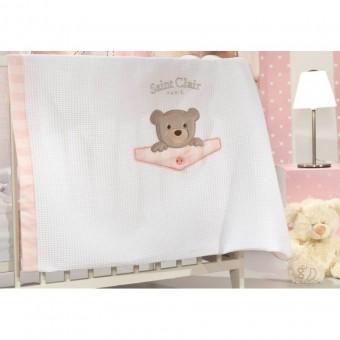 Κουβέρτα πικέ bebe   Teddy Rose   110x160