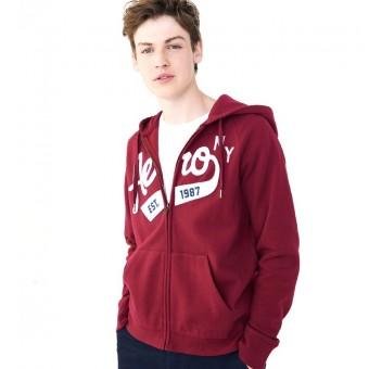 Ζακέτα φούτερ με κουκούλα | μπορντό | Νο XL