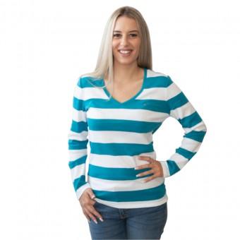 Μπλούζα Γυναικεία | Μακό | Μακρυμάνικη | Ριγέ | V-λαιμόκοψη | Large | RM37686420-413