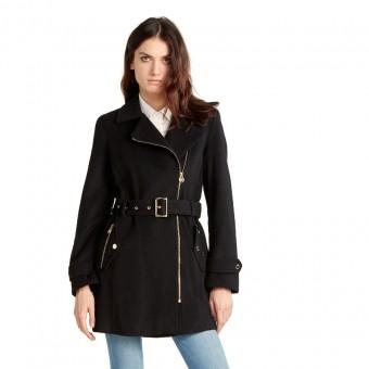 Παλτό Γυναικείο | Μακρύ | Μεσάτο | Με ζώνη  | ασύμμετρο κλείσιμο | μαύρο
