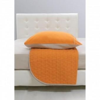 Κουβερλί υπέρδιπλο 220x240 | Block Orange | με σετ σεντόνια δώρο