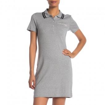 Φόρεμα κοντομάνικο | Polo | γιακάς με ρίγες | γκρι | Large | CDBA1T22-DXG