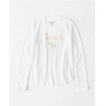Μπλούζα μακό μακρυμάνικη λευκή | μεταλλικό Logo | 7/8 ετών