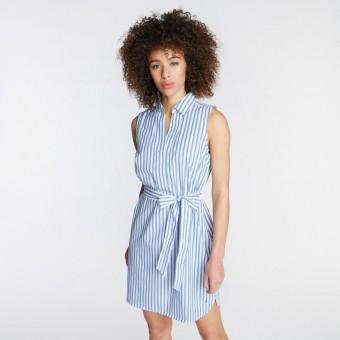Φόρεμα | Αμάνικο | Με ζώνη | Ριγέ | άσπρο γαλάζιο | 9203DR