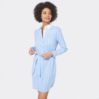 Φόρεμα | Μακρυμάνικο | Κλασσική Γραμμή | Ριγέ | Άσπρο - γαλάζιο | 05D305