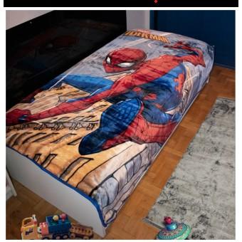 Κουβέρτα παιδική βελουτέ   Spiderman   μονή 160x220