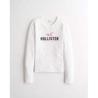Μπλούζα | Hollister | Μακό | Κεντητό λογότυπο | Λευκό |