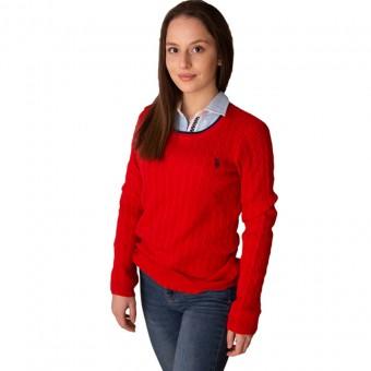 Πουλόβερ Γυναικείο   US Polo Assn   Πλεξίδες   Κόκκινο