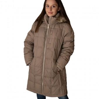 Μπουφάν Γυναικείο | Αδιάβροχο | Αντιανεμικό | Πούπουλο Χήνας | Αφαιρούμενη κουκούλα με γούνα | Μπεζ