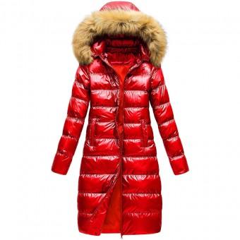 Μπουφάν Γυναικείο | Αδιάβροχο | Αντιανεμικό | Αποσπώμενη κουκούλα με γούνα | Κόκκινο