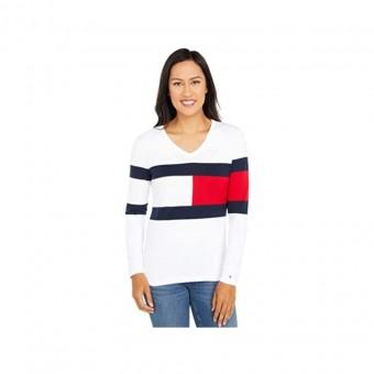 Πουλόβερ γυναικείο   Λευκό   Logo colors  Tommy Hilfiger  Ivy Flag  