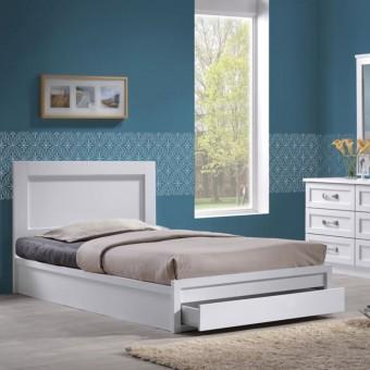 Κρεβάτι ημίδιπλο με συρτάρι | Life Λευκό EΜ3632,1