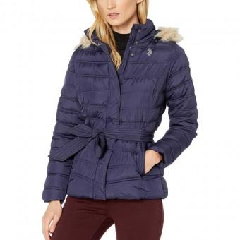Μπουφάν Γυναικείο | Jacket | Αδιάβροχο | Αποσπώμενη κουκούλα με γούνα | Logo | Μπλε σκούρο | Medium