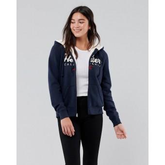 Ζακέτα Φούτερ Γυναικεία με γούνα   Με κουκούλα   Navy   Hollister   Κεντητό λογότυπο