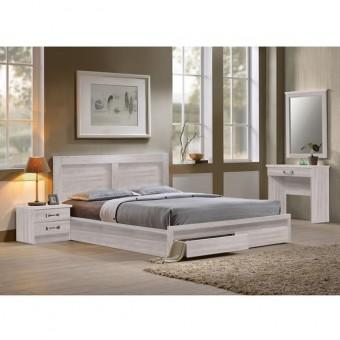 Κρεβάτι υπέρδιπλο με συρτάρια | Life White Wash ΕΜ363,5