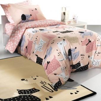 Παπλωματοθήκη παιδική Doggy Pink με μαξιλαροθήκη   160x220