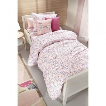 Παπλωματοθήκη παιδική Letters Pink   160x220