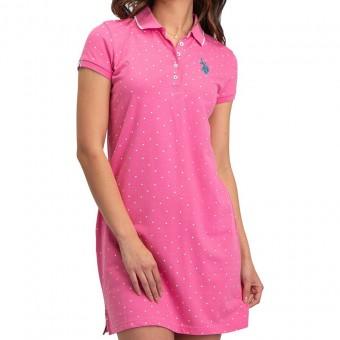 Φόρεμα | Κοντομάνικο | Logo | Ροζ πουά
