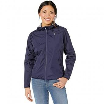 Μπουφάν Γυναικείο | Jacket | Αδιάβροχο | Αντιανεμικό | Απσπώμενη κουκούλα | Logo | Δύο όψεων | Μπλε-Γκρι
