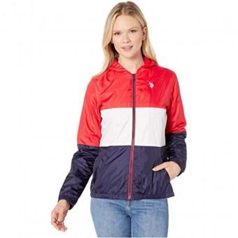 Μπουφάν Γυναικείο | Jacket | Αδιάβροχο | Αντιανεμικό | Απσπώμενη κουκούλα | Μπλε-άσπρο-κόκκινο