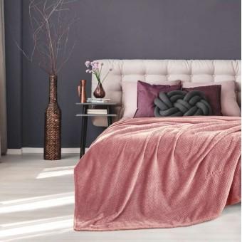 Κουβέρτα fleece μονή | Rombus Coral | 160x220