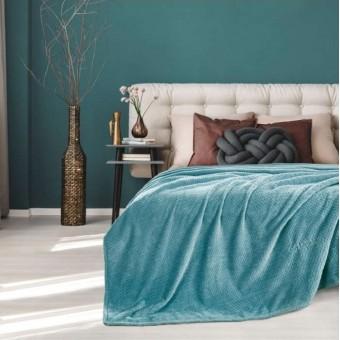 Κουβέρτα fleece μονή | Rombus Petrol | 160x220