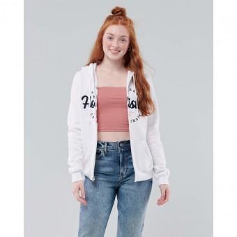 Ζακέτα Γυναικεία   Φούτερ με κουκούλα   Λευκή   Hollister   Κεντητό λογότυπο