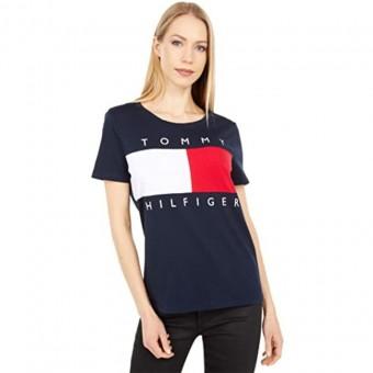 Μπλούζα Γυναικεία | Μακό | Κοντομάνικη | Big Flag Logo | Blue Navy