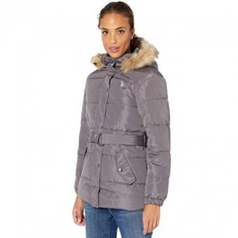 Μπουφάν Γυναικείο με ζώνη | Jacket | Αδιάβροχο | Αντιανεμικό | Αποσπώμενη κουκούλα με γούνα | Logo | Γκρι