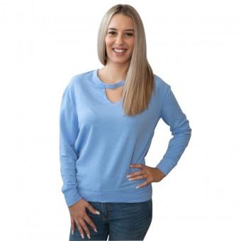 Μπλούζα Γυναικεία |  Μακρυμάνικη | Μακό | Γαλάζια | Με διακοσμητικό τσόκερ