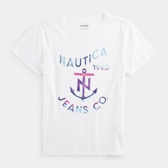 Μπλούζα Μακό | Κοντομάνικη | Άσπρη | μεταλλική στάμπα | 05V322