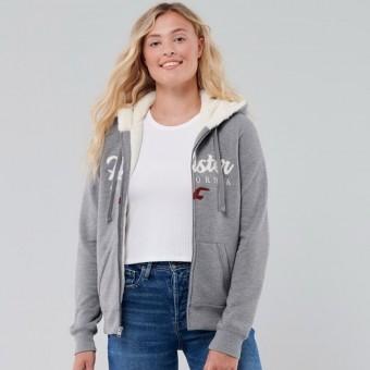 Ζακέτα Φούτερ Γυναικεία με γούνα   Με κουκούλα   Hollister   Κεντητό λογότυπο   Γκρι