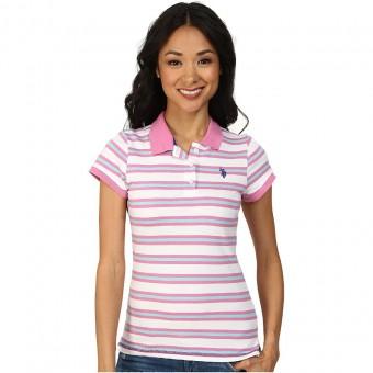 Μπλούζα Γυναικεία polo | Κοντομάνικη | Ριγέ | Λευκό - ροζ - γαλάζιο