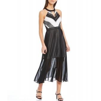 Φόρεμα Μακρύ | Άσπρο-μαύρο | Δαντέλα και σιφόν | GDNP3692/BLW
