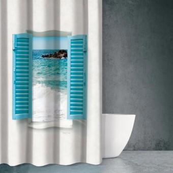 Κουρτίνα μπάνιου | υφασμάτινη αδιάβροχη | 180x200 | Seawater DES 604