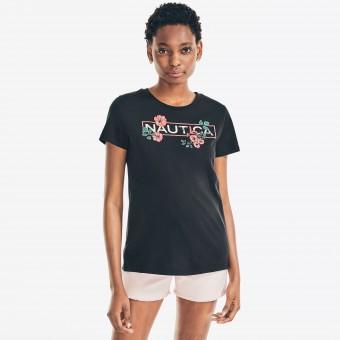 Μπλούζα Μακό Κοντομάνικη | Μαύρη | Floral Logo