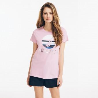 Μπλούζα Μακό Κοντομάνικη | Ροζ | Metallic Foil Logo | Νο XL