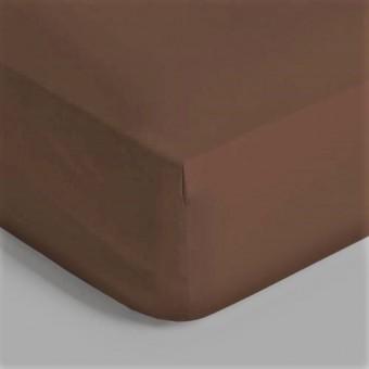 Σεντόνι μεμονωμένο χρώμα καφέ πούρου με λάστιχο   King Size 198x203   400 κλωστές