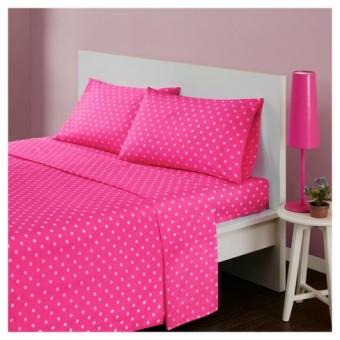 Σεντόνι μεμονωμένο ροζ πουά με λάστιχο   υπέρδιπλο 152x203   300 κλωστές